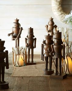 Three Wooden Nutcrackers at Horchow.