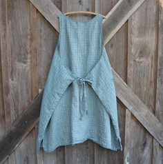 linen jumper pinafore apron dress in blue and by linenclothing #apron #avental