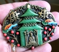 ART DECO MAX NEIGER CHINESE PAGODA ORIENTAL FILIGREE BROOCH | eBay
