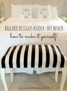 Make your own version of this classy bench. | 35 Money-Saving Home Decor Knock-Offs