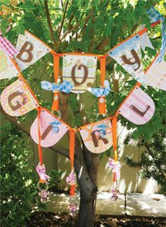 if we do it outside we could make something like this to hang in a tree party banners, baby shower ideas, templat, babi banner, shower banner, babi shower, parti, baby showers