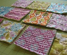 Great Idea for a rag quilt. You could hand stich all the blocks without having to fight the huge mass of a quilt then just sew all the mini blocks together!!!!
