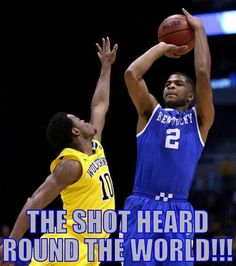 Aaron Harrison game winning shot in the final seconds against Michigan. 3/30/14.  Final Four bound