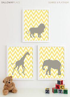 Baby Nursery Art, Safari Animal Chevron Nursery Print, Jungle Zoo Children Kids Wall Art Kids Room Baby Nursery Decor - Three 8x10