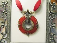 Striking Red Pendant Necklace with faceted by RomanticThoughts -SOLD-