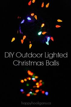 DIY Outdoor Lighted Christmas Balls - have the most stunning front yard on the block this year with these DIY Outdoor ornaments made from chicken wire and a string of Christmas lights - Happy Hooligans
