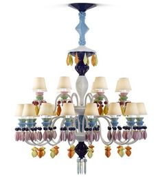 Lladro   Belle de Nuit Collection Lamps based on the classic crystal chandelier, but made of porcelain