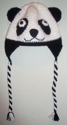 Crocheted Adult Panda Hat