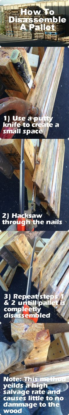 How to disassemble a pallet without splitting or damaging the wood! By Kyle Wind