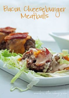 "Triple Bacon Cheeseburger Meatball with low carb ""special sauce"" (low carb and gluten free) from ibreatheimhungry.com"