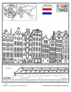 Color the World! Lots of fun and educational colouring pages with famous landmarks from all over the world.
