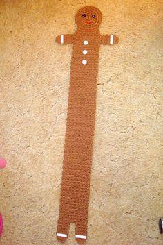 gingerbread boy scarf - free crochet pattern