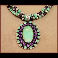 Love this mixture of the Amethyst and Turquoise! Price $1799.50