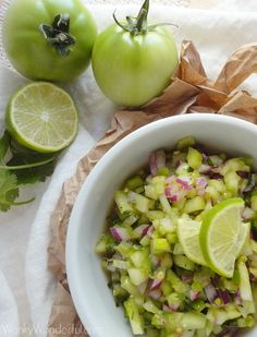 Green Tomato Salsa Verde - no-cook, so it's easier than the usual tomatillo version. Great with grilled chicken or pork tomatillo, green tomatoes recipes, green tomato recipes, green tomato salsa, green tomatoes salsa