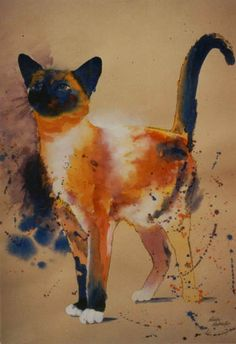 Blue-Point Snowshoe Siamese Cat    Pollocks Cat by Eve Riser Roberts