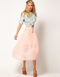 ASOS Midi Skirt with Pleats
