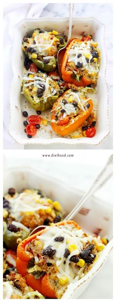 Southwestern Quinoa Stuffed Peppers | www.diethood.com | Stuffed with a delicious and cheesy quinoa mixture, these peppers are about to become your favorite! | #gluten_free #gf #vegetarian #diet #recipes