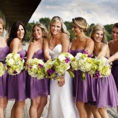 Bridesmaid dresses! such a pretty purple.