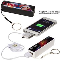 PL-4451 Traveler's Mobile Charger – Deluxe. Portable Grade A lithium-ion battery in ABS plastic shell allows you to charge your devices virtually anywhere. Power bank includes standard USB connector cable to charge battery from your computer or any USB port with a power supply. Includes cotton strap with nickel-plated split key ring.