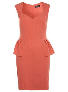 V Neck Coral Peplum Dress