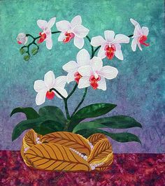 White Orchid by Rosile Baker, Pacific Art Quilt alliance - PAQA Orchid Challenge