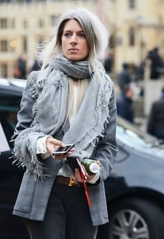 Tommy Ton Shoots Street Style at the Fall 2014 Fashion Shows - shades of grey