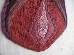 Hand embroidered vagina art.  um...no thank you.