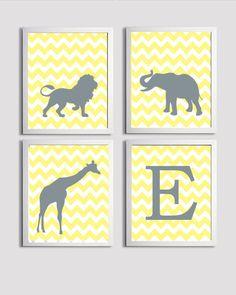 Personalized Kids Room Nursery Art Chevron Boy Girl Yellow Gray Safari Animals set of 4 each 8x10. $48.00, via Etsy.