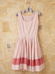 Vintage Pink Striped Mini Dress