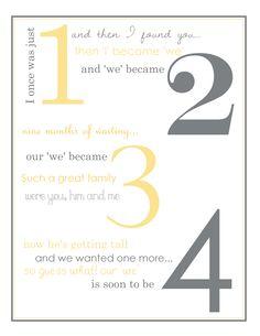 pregnancy announcements, pregnanc poem, idea, poem announc, 2nd pregnancy