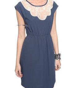 woven lace insert dress
