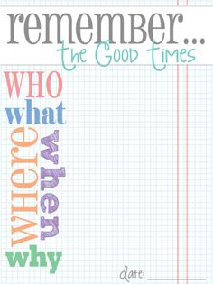 Free Remember... Journal Card