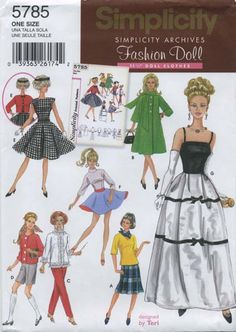 Vintage Barbie™ Doll Clothes Sewing Pattern | Retro Doll Clothes for 11½ Fashion Doll | Simplicity 5785 | Year 2002 | One Size | Reissue of Simplicity 4700 from the year 196?