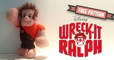 Free crochet pattern – Ralph from Disney's Wreck it Ralph