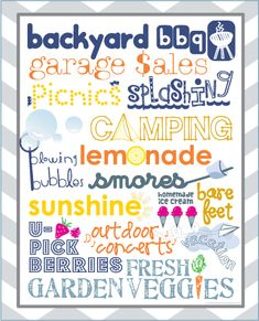 summer free printable, summer list, summer bucket lists, subway art, font