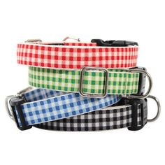 """With a touch of English charm, our Gingham Dog Collar looks cheery on any pup. Made from recycled plastic bottles, you and your dog will love this lightweight, quick-drying checkered dog collar. Weather-resistant and machine washable. Brilliant! Small Dog Collar 5/8"""" width, in two lengths: 6"""" - 11"""" or 9"""" -16"""" Medium Dog Collar 3/4"""" width, in two lengths: 8"""" - 14"""" or 12"""" - 20"""" Large Dog Collar 1"""" width, in two lengths: 12"""" - 20"""" or 16"""" - 26"""" $0.00"""