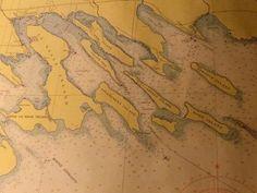 Lake Huron Survey Map, Les Cheneaux Islands Michigan No. 601, Color, 36 x 48 c.1955
