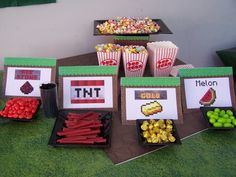 Fun food at a Minecraft Party #minecraft #partyfood