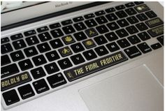 Star Trek keyboard decals - look closely at the Space Bar. Ha.