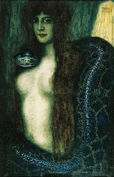 Franz von Stuck (German, 1863-1928). Die Sünde (Sin), ca. 1908. Charles and Emma Frye Collection, 1952.169
