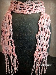 Crocheted Skinny Scarf Pink Ribbon Yarn Scarf  by MoomettesCrochet