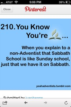 You know you're Seventh-Day Adventist when... #SDA