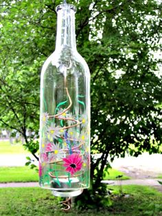 Recycled Wine Bottle Garden Light Hanging Candle by GlassGaloreGal,