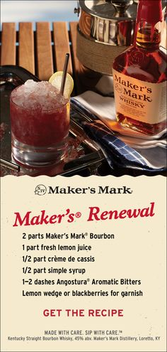 Renew your idea of what a Whisky Sour can be with this Maker's and crème de cassis cocktail. The cassis adds a tart but sweet blackcurrant flavor and presents a unique violet-red complexion. Ingredients: 2 parts Maker's Mark® Bourbon, 1 part fresh lemon juice, 1/2 part crème de cassis, 1/2 part simple syrup, 1–2 dashes Angostura® Aromatic Bitters. Lemon slice or blackberries for garnish. Click through to put it together!