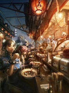 fan art, asian foods, artworks, digital art, dinners, video game, people, street fighter, arnold tsang