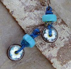 Handmade Ceramic Flower Earrings with by LindaLandigJewelry