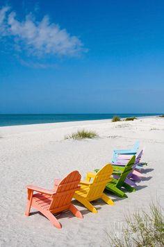 beach chairs, adirondack chairs, summer vacations, color, at the beach, place, rainbow, beach life, sanibel island