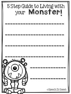Therapy ideas for 10 Step Guide to Living With Your Monster (Plus Freebie!)