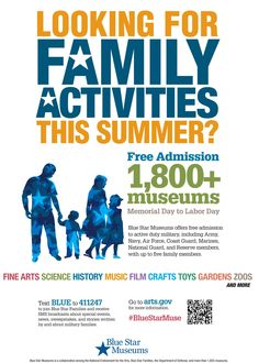 Looking for a few fun things to do this summer with your family? Free admission to over 1800+ museums from Memorial Day to Labor Day for military families http://www.bluestarfam.org/Programs/Blue_Star_Museums
