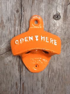 Bright Orange Bottle Opener - Bright Cast Iron - Shabby Chic - Retro Kitchen Decor - 6 Pack - California Poppy - Metal Wall Decor- Patio. $8.50, via Etsy.